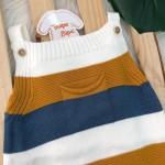 Jardineira Curta de Linha - Bolsinho e Listras Grossas OFF , Mostarda e Azul Jeans