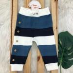 Calca de Linha Avulsa Listrada com Botoes Falsos - Marinho e Azul Jeans