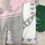 Saída de maternidade Mariane - Rosa e Cinza