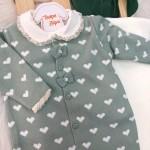 Saída de maternidade Coração macacão- Verde