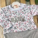 Macacão Trape Zape - Baby florido Mescla e Rose