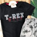 Conjunto Verao - T-REX Preto e Mescla