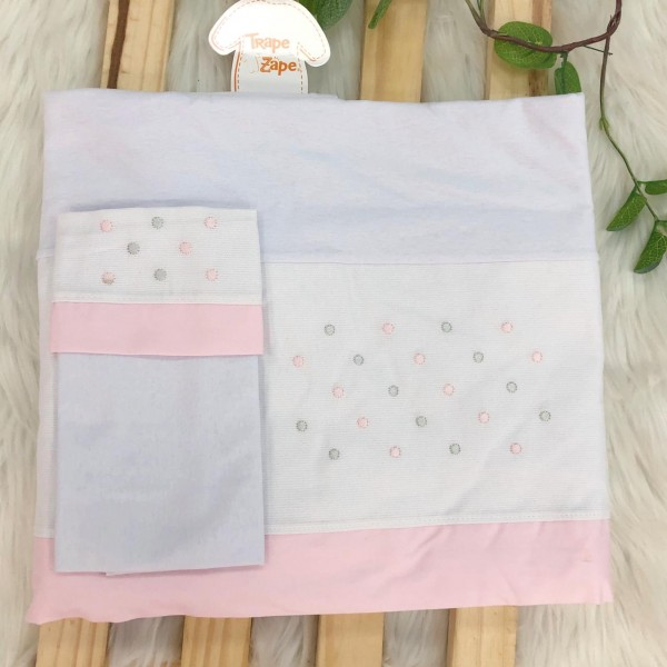 Enxoval- Jogo de lençol para Berço Americano 3 peças- Poa rosa e cinza