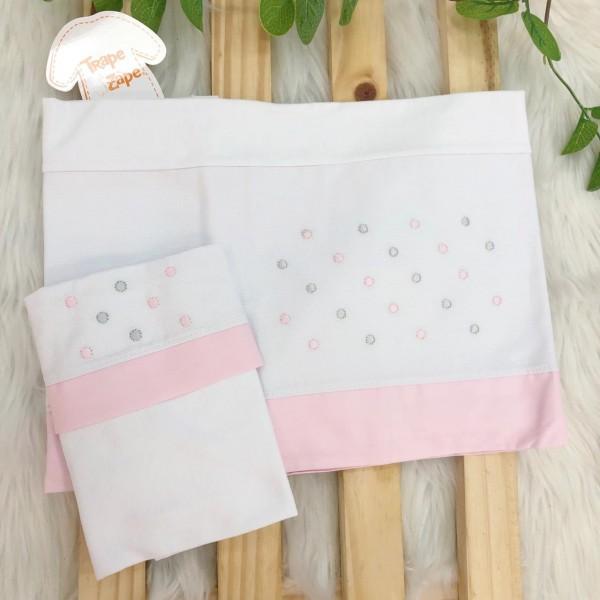 Enxoval- Jogo de lençol para Carrinho 2 peças- Poa rosa e cinza