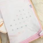 Enxoval- Cueiro de Malha bordado- Poa rosa e cinza