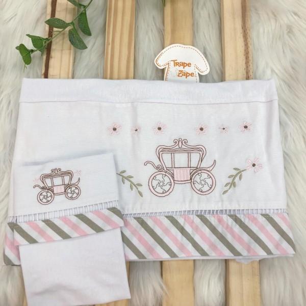 Enxoval- Jogo de lençol para Berço Americano 3 peças- Carruagem Rosa e bege