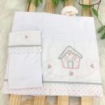 Enxoval- Jogo de lençol para Berço Americano 3 peças- Casinha