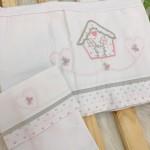 Enxoval- Jogo de lençol para Carrinho 2 peças- Casinha