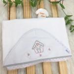 Enxoval- Toalha de banho bordada com capuz- Casinha
