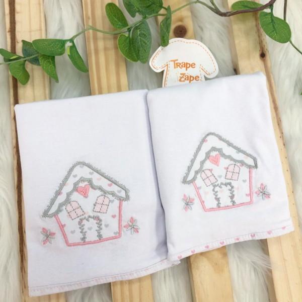 Enxoval- Kit 2 Toalhas de ombro de malha- Casinha
