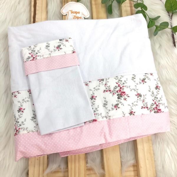 Enxoval- Jogo de lençol para Berço Americano 3 peças- Estampa florida