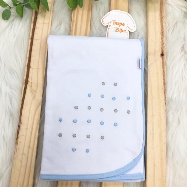 Enxoval- Cueiro de malha bordado- Poa azul claro e cinza