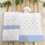 Enxoval- Jogo de lençol para Carrinho 2 peças- Poa Azul claro e cinza