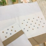 Enxoval- Jogo de lençol para Berço Americano 3 peças- Poa Bege com azul  jeans