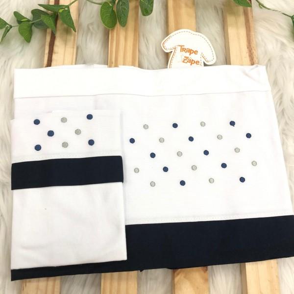 Enxoval- Jogo de lençol para Carrinho 2 peças- Poa Azul Marinho e Cinza
