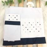 Enxoval- Jogo de lençol para Berço Americano 3 peças- Poa Azul Marinho e Cinza