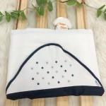 Enxoval- Toalha de banho bordada com capuz- Poa Azul Marinho e Cinza