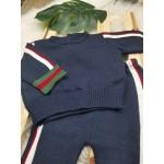 Conjunto em linha modelo Chique marinho, verde e vermelho
