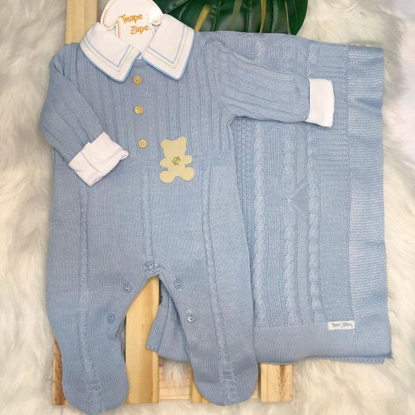 Saída de Maternidade-  azul bebe ursinho bege couro