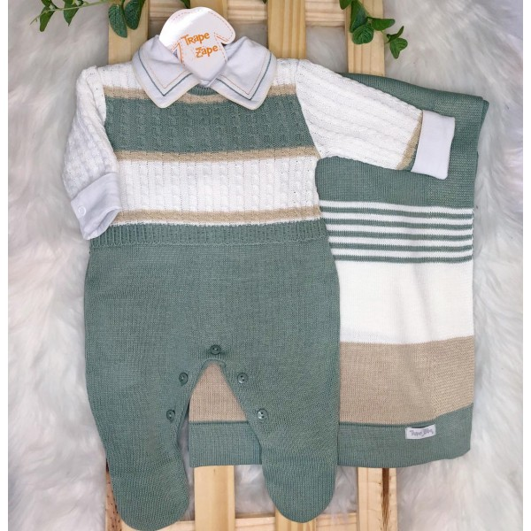 Saída de Maternidade- Noah verde e bege