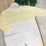 Macacao de Linha - Luisa Amarelo com Branco