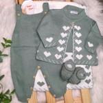 Saída de Maternidade Love- branca com verde