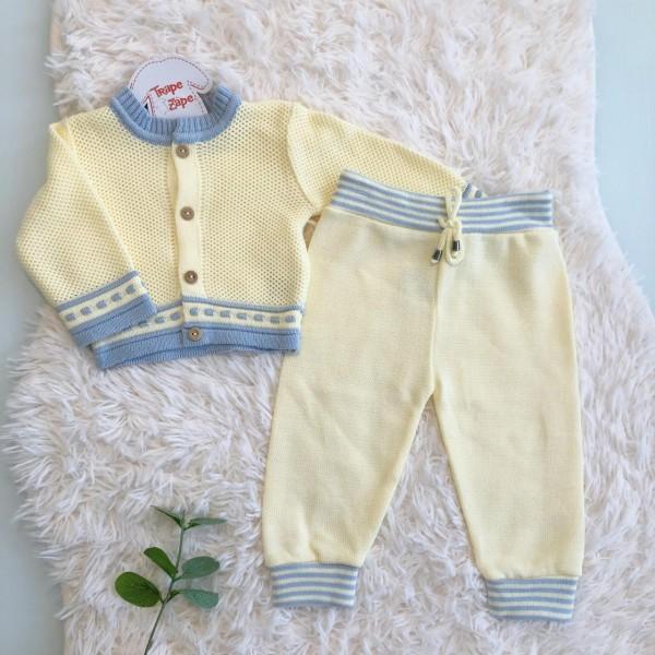 Conjunto de linha amarelo com listra azul bebe