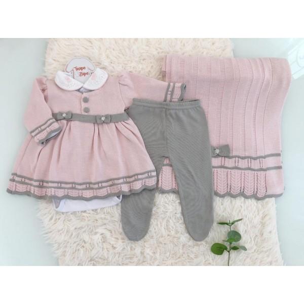 Saída de maternidade Alice- rosa com cinza