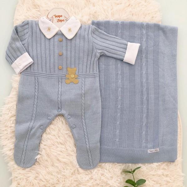 Saída de Maternidade Urso de couro- azul bebe MANTA TRANÇA