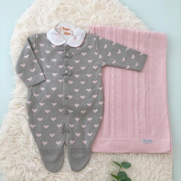 Saída de maternidade Coração macacão- Cinza e rosa