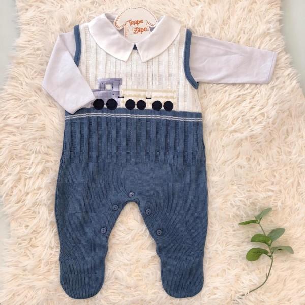 Macacão de linha salopete trenzinho azul jeans