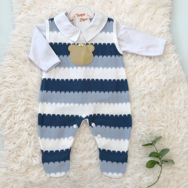 Macacão de linha listado azul jeans e azul bebe urso