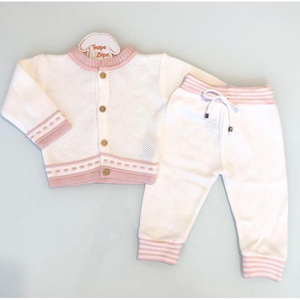 Conjunto de linha Off White com listra rosa