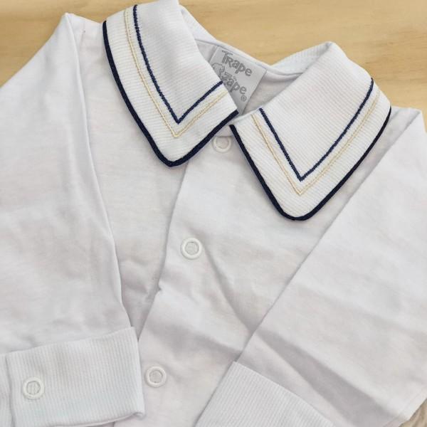 body branco com gola bordado linhas marinho e bege