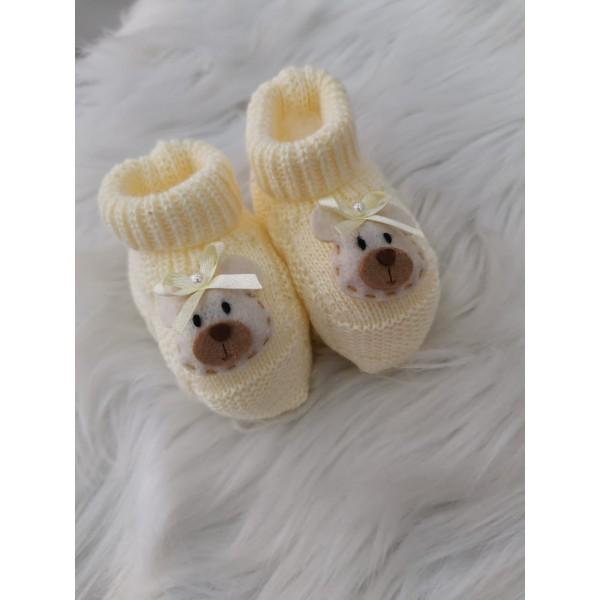 Sapatinho recém nascido de linha- cano alto amarelo ursinha