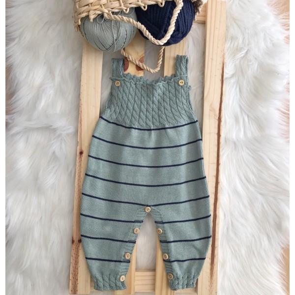 Jardineira Longa de linha- Verde com listra fina azul marinho