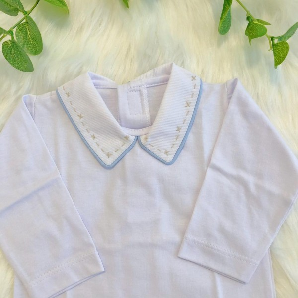 body gola bordado- bordado bege com viez azul bebe