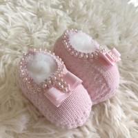 Sapatinho recém nascido de linha- sapatilha laço gorgurão rosa