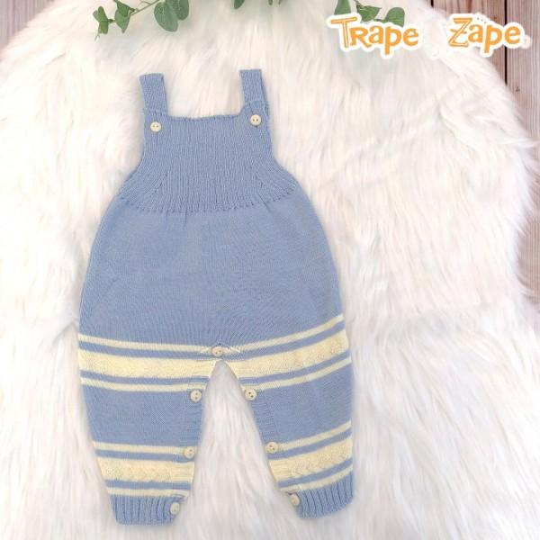 Jardineira Longa de linha- azul bebê com listra larga amarela