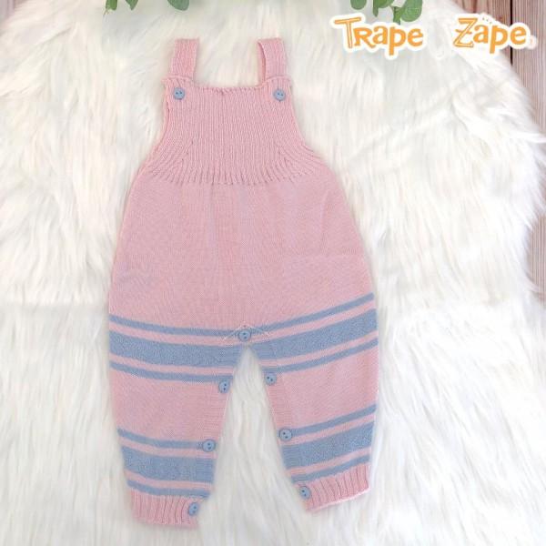Jardineira Longa de linha- rosa com listra larga azul bebê