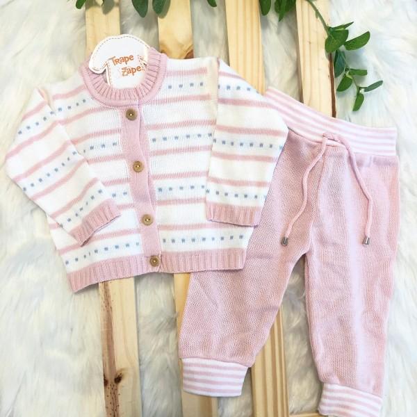 Conjunto de linha branco com rosa e traçinho azul bebe