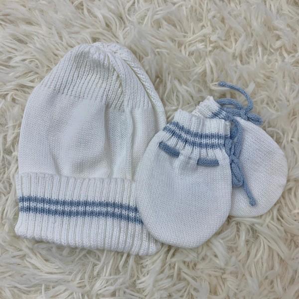 kit touca e luva- branco com azul bebe