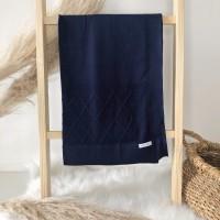 Manta de linha- losangulo azul marinho