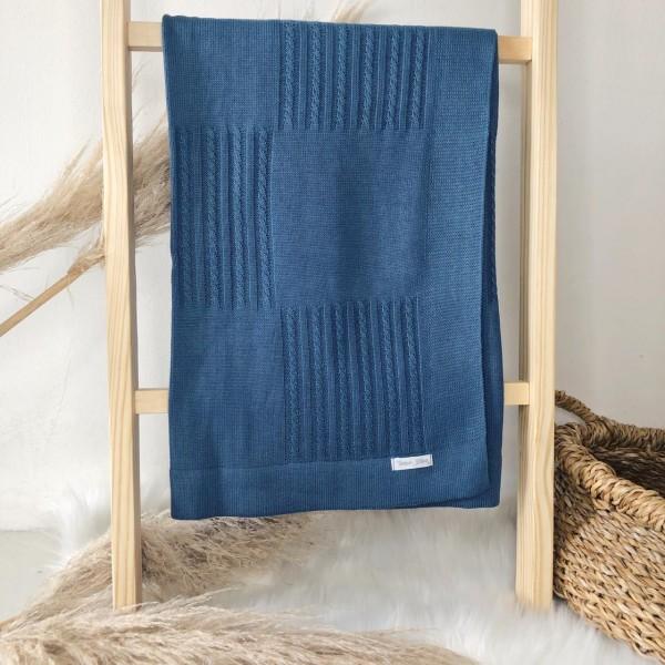 Manta de linha-  quadrado e trança azul jeans