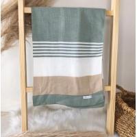 Manta de linha- 3 cores verde, branco e areia