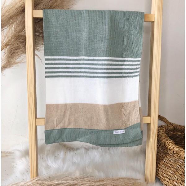 Manta de linha- 3 cores verde, branco e bege