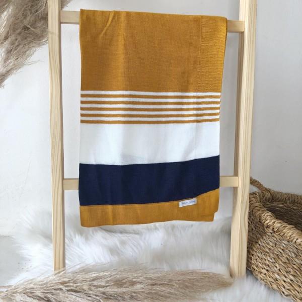 Manta de linha- 3 cores mostarda, branco e marinho
