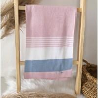 Manta de linha- 3 cores rosa, branca e azul