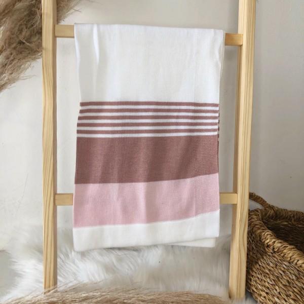 Manta de linha- 3 cores branca, rosa e rose
