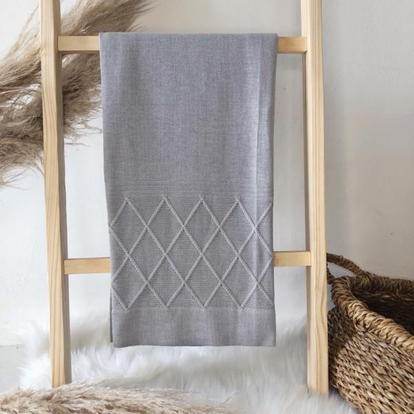 Manta de linha- losango cinza